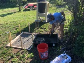 Mixing Cement for the grill platform